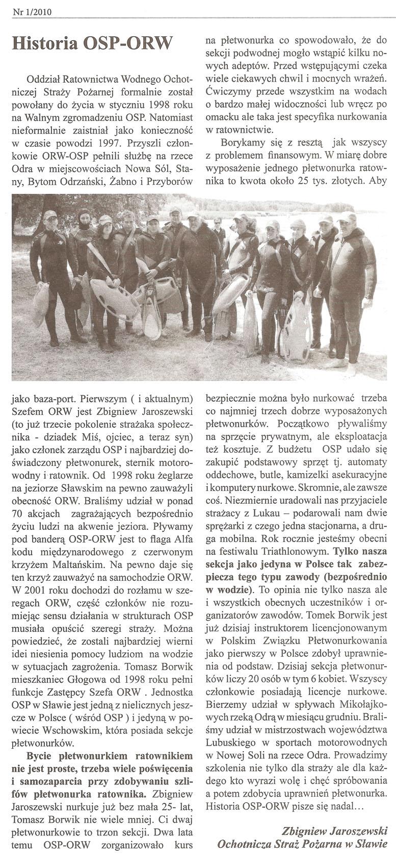 Historia OSP - ORW Sława
